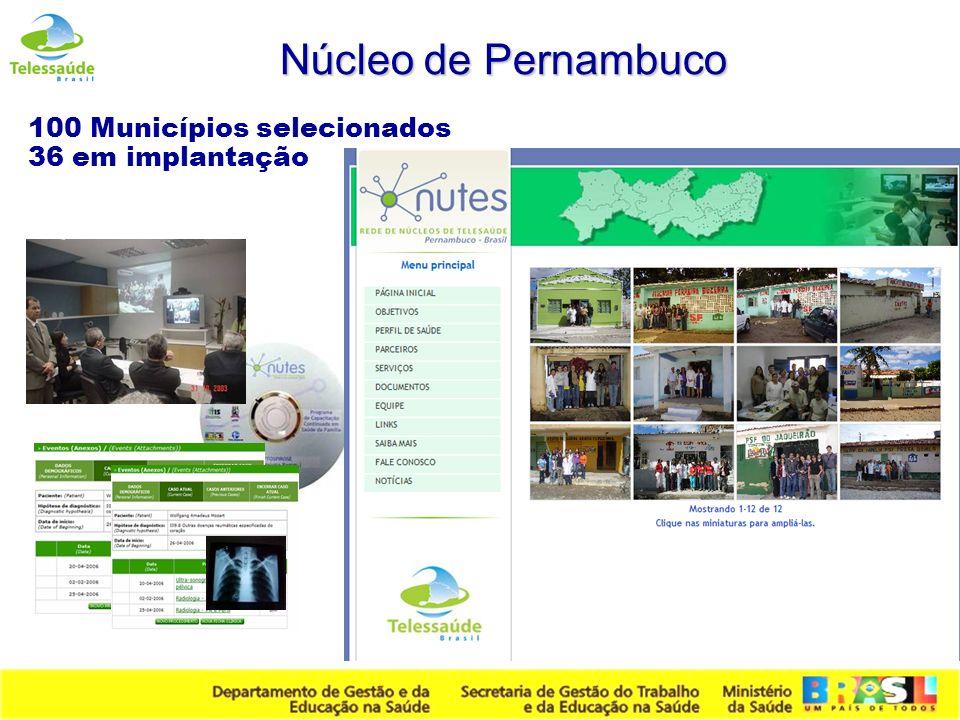 Núcleo de Pernambuco 100 Municípios selecionados 36 em implantação
