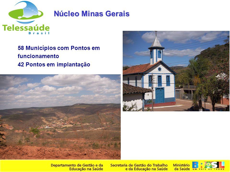 Núcleo Minas Gerais 58 Municípios com Pontos em funcionamento