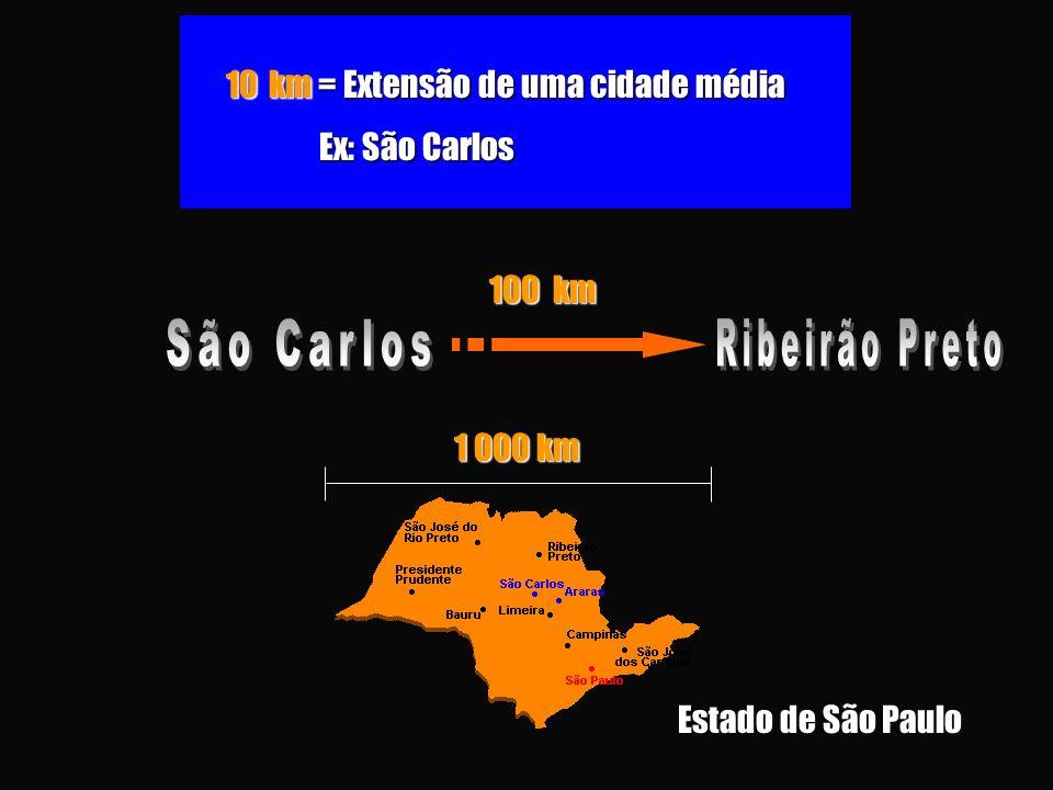 São Carlos Ribeirão Preto 10 km = Extensão de uma cidade média