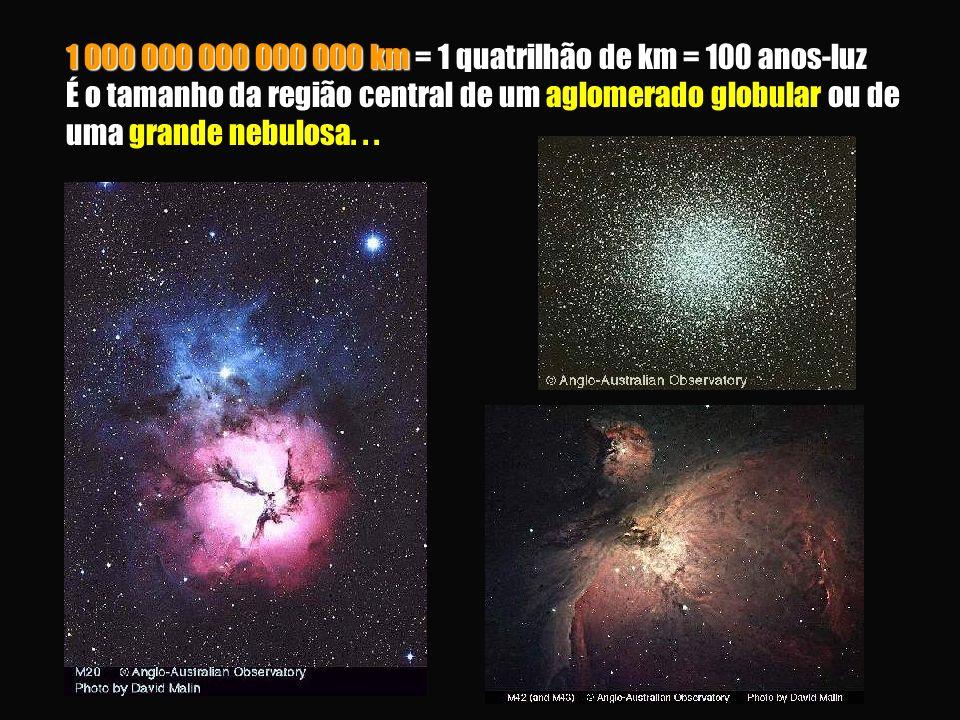 1 000 000 000 000 000 km = 1 quatrilhão de km = 100 anos-luz É o tamanho da região central de um aglomerado globular ou de uma grande nebulosa.