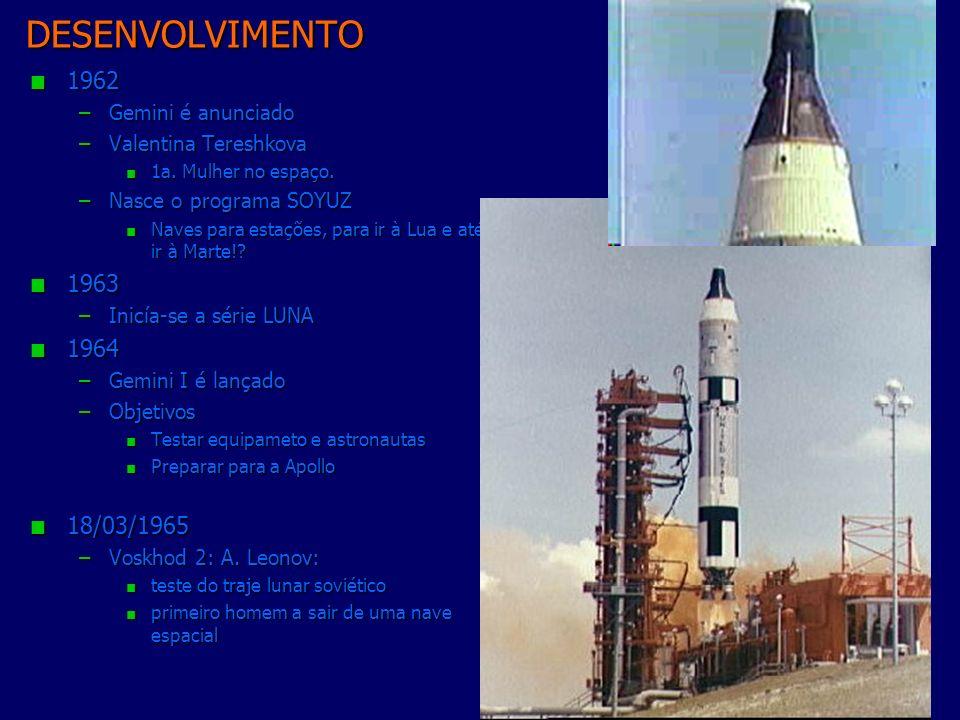 DESENVOLVIMENTO 1962 1963 1964 18/03/1965 Gemini é anunciado