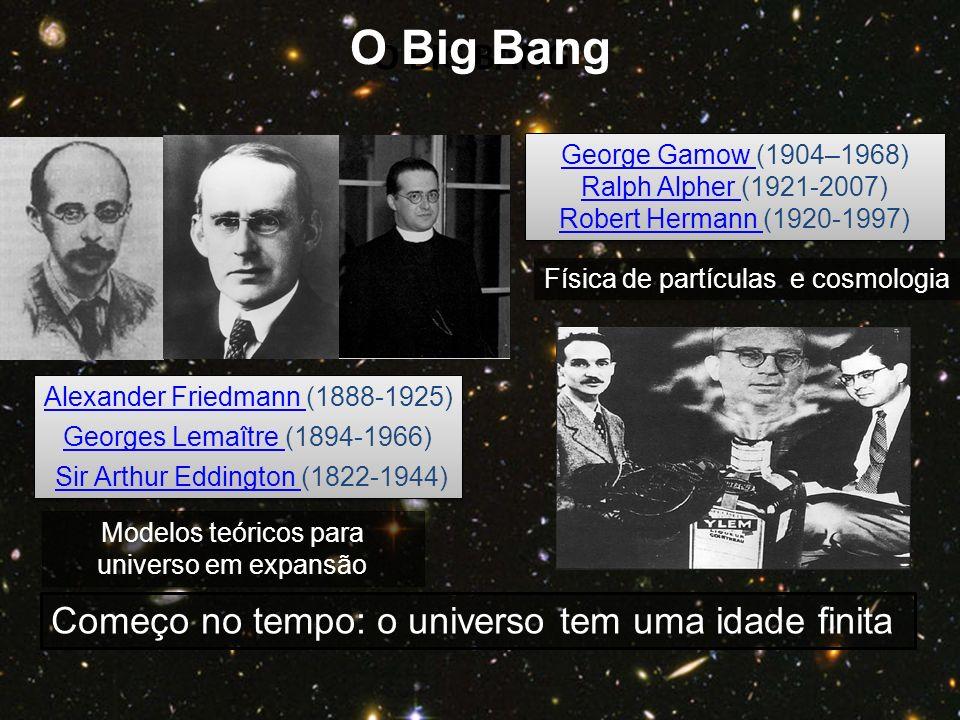 O Big Bang O BIG BANG Começo no tempo: o universo tem uma idade finita