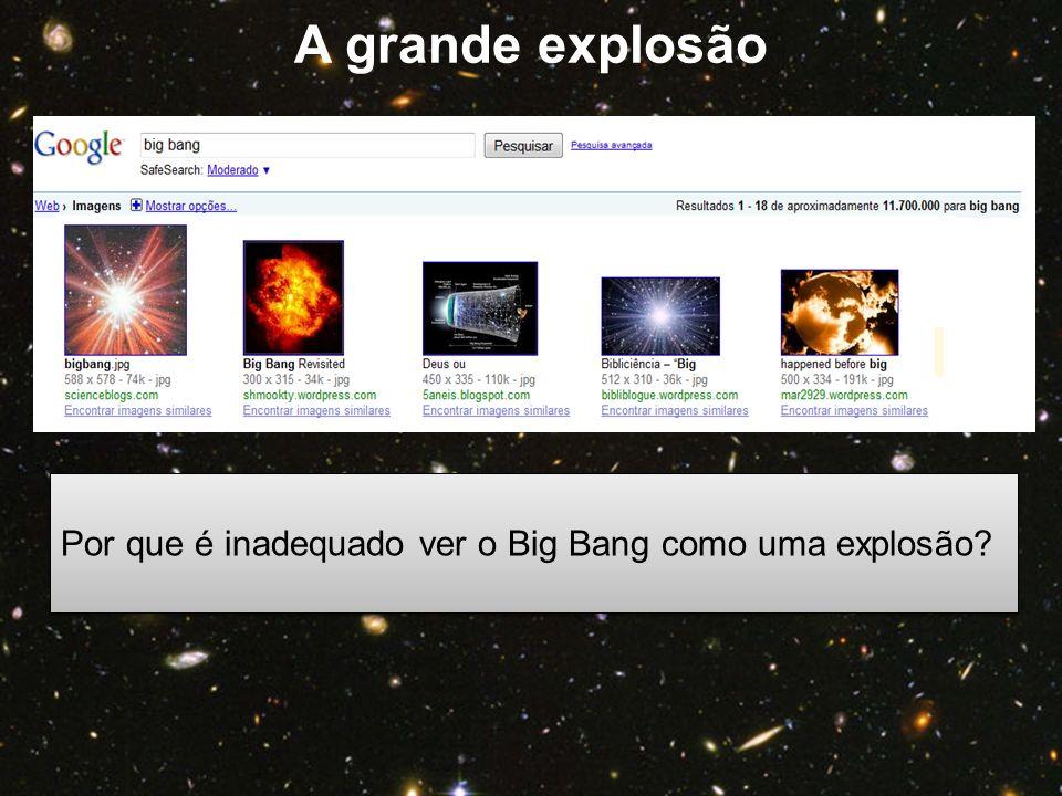 A grande explosão Por que é inadequado ver o Big Bang como uma explosão