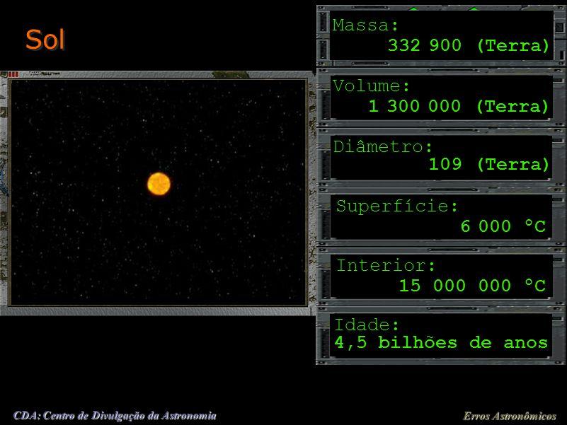 Sol Massa: 332 900 (Terra) Volume: 1 300 000 (Terra) Diâmetro: