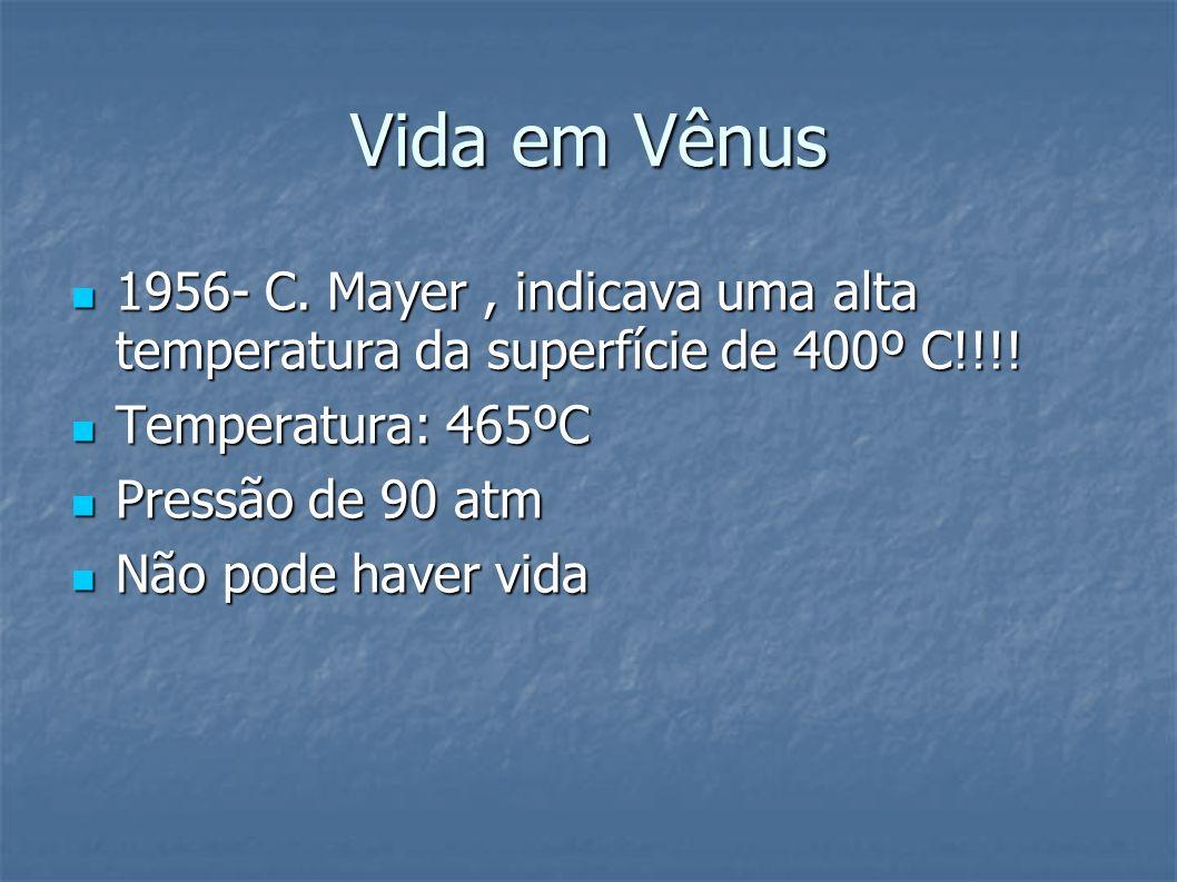 Vida em Vênus 1956- C. Mayer , indicava uma alta temperatura da superfície de 400º C!!!! Temperatura: 465ºC.