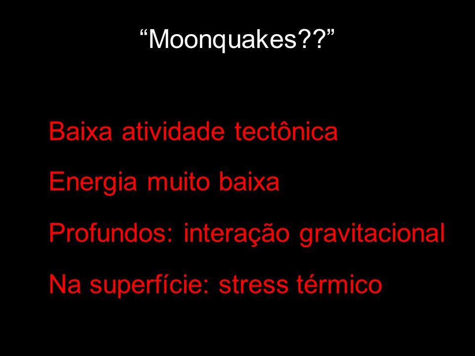 Moonquakes Baixa atividade tectônica. Energia muito baixa. Profundos: interação gravitacional.