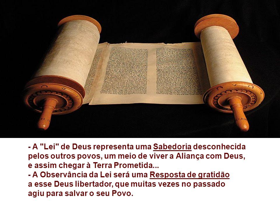 - A Lei de Deus representa uma Sabedoria desconhecida pelos outros povos, um meio de viver a Aliança com Deus,