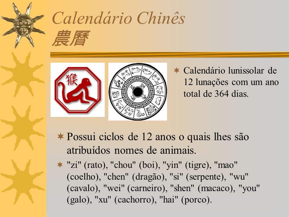 Calendário Chinês 農曆 Calendário lunissolar de 12 lunações com um ano total de 364 dias.