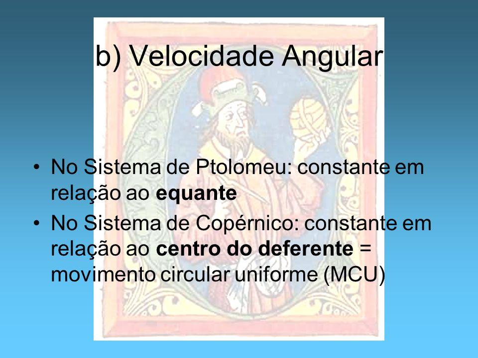 b) Velocidade Angular No Sistema de Ptolomeu: constante em relação ao equante.