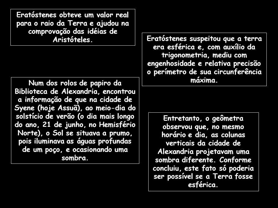 Eratóstenes obteve um valor real para o raio da Terra e ajudou na comprovação das idéias de Aristóteles.