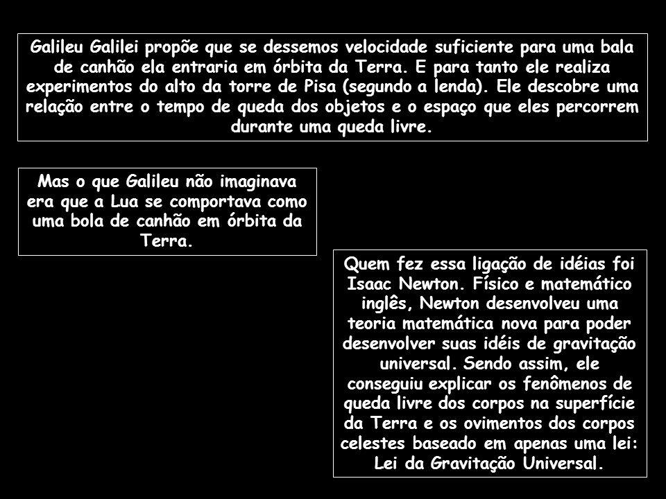 Galileu Galilei propõe que se dessemos velocidade suficiente para uma bala de canhão ela entraria em órbita da Terra. E para tanto ele realiza experimentos do alto da torre de Pisa (segundo a lenda). Ele descobre uma relação entre o tempo de queda dos objetos e o espaço que eles percorrem durante uma queda livre.