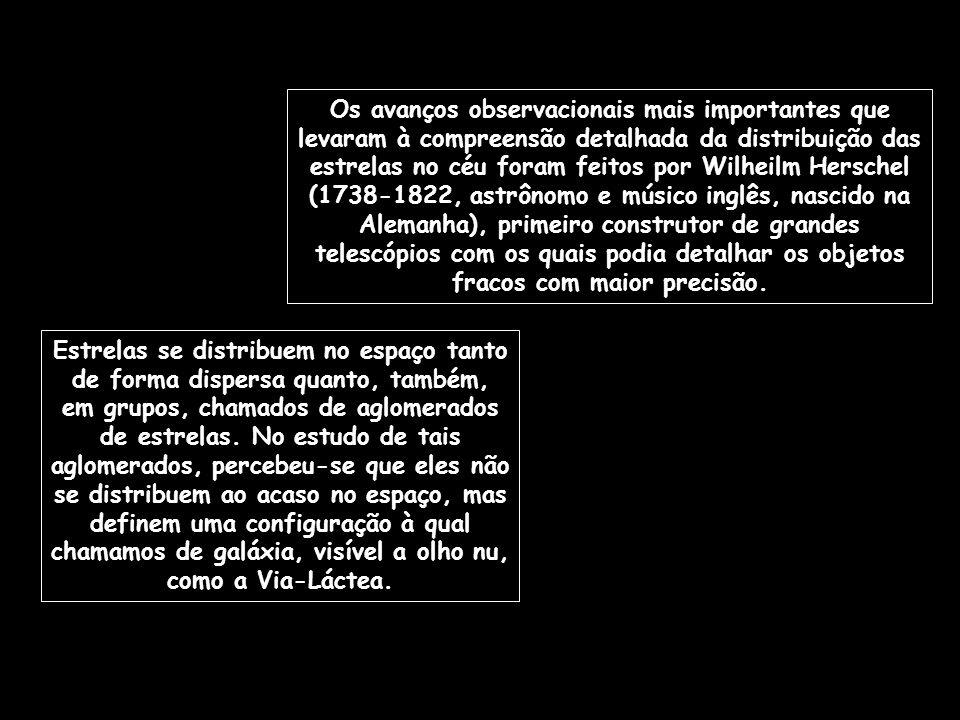 Os avanços observacionais mais importantes que levaram à compreensão detalhada da distribuição das estrelas no céu foram feitos por Wilheilm Herschel (1738-1822, astrônomo e músico inglês, nascido na Alemanha), primeiro construtor de grandes telescópios com os quais podia detalhar os objetos fracos com maior precisão.