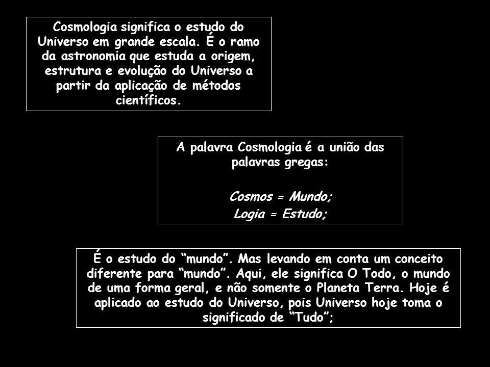 A palavra Cosmologia é a união das palavras gregas: