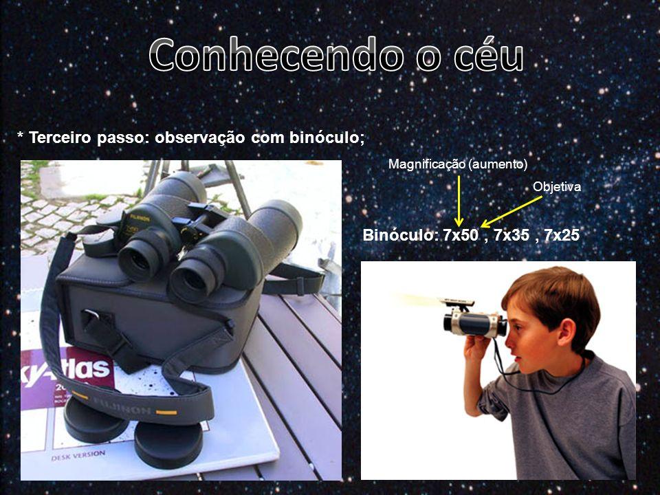 Conhecendo o céu * Terceiro passo: observação com binóculo;