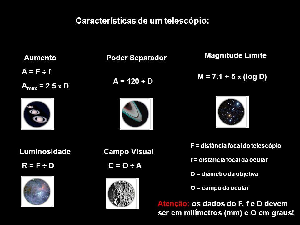 Características de um telescópio: