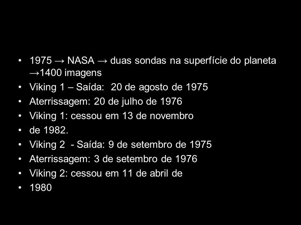 1975 → NASA → duas sondas na superfície do planeta →1400 imagens