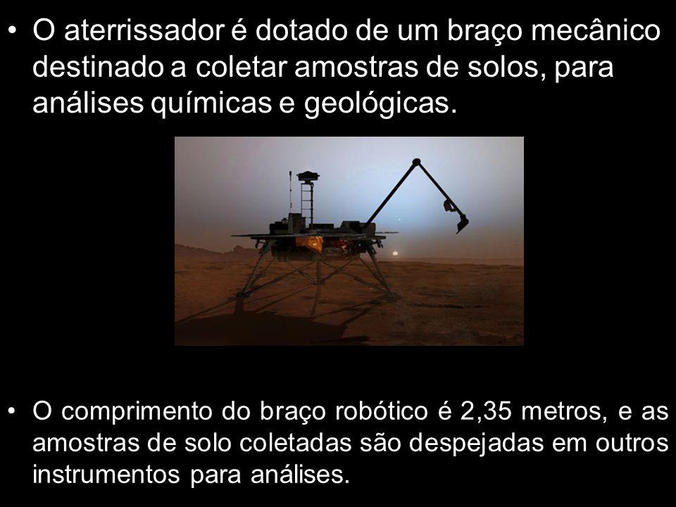 O aterrissador é dotado de um braço mecânico destinado a coletar amostras de solos, para análises químicas e geológicas.