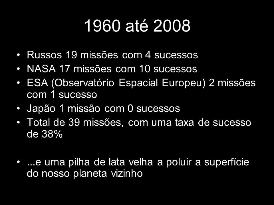 1960 até 2008 Russos 19 missões com 4 sucessos