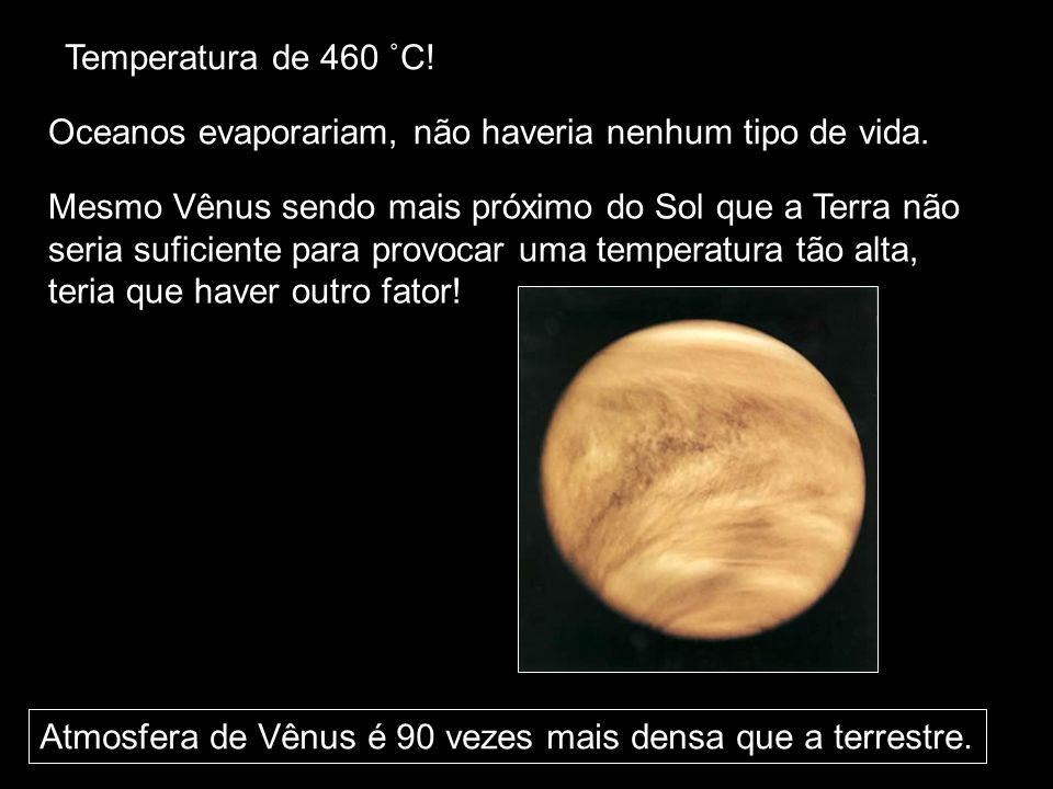 Temperatura de 460 ˚C! Oceanos evaporariam, não haveria nenhum tipo de vida. Mesmo Vênus sendo mais próximo do Sol que a Terra não.