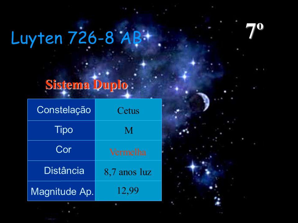 7º Luyten 726-8 AB Sistema Duplo Constelação Cetus Tipo M Cor Vermelha