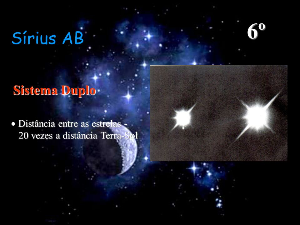 6º Sírius AB Sistema Duplo  Distância entre as estrelas -
