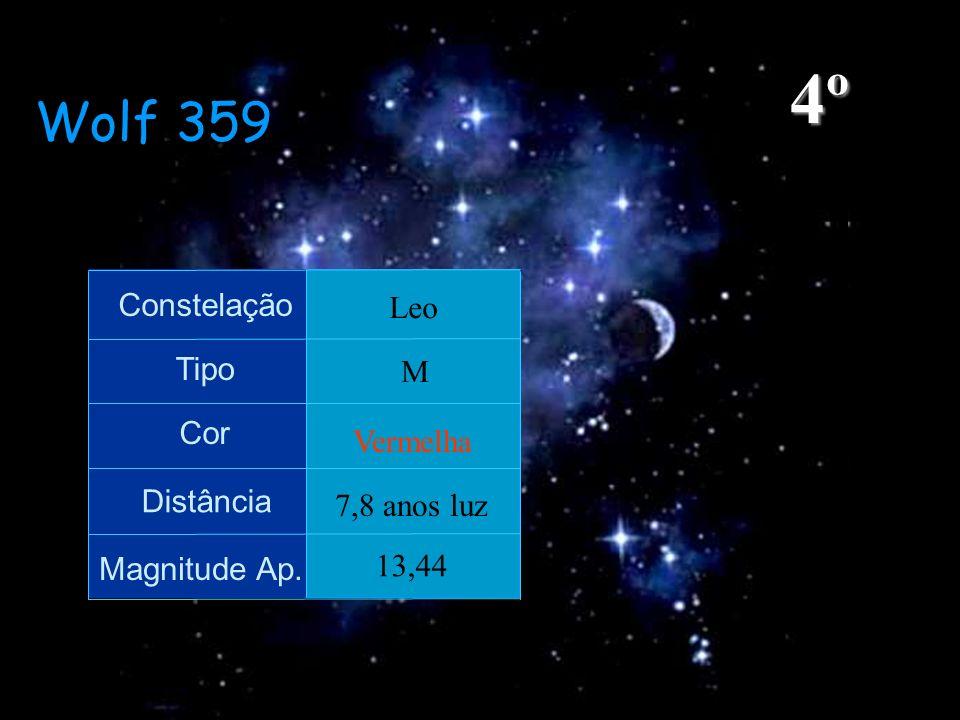 4º Wolf 359 Constelação Leo Tipo M Cor Vermelha Distância 7,8 anos luz