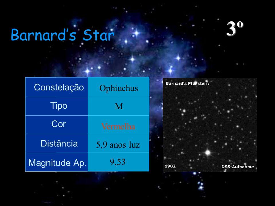 3º Barnard's Star Constelação Ophiuchus Tipo M Cor Vermelha Distância