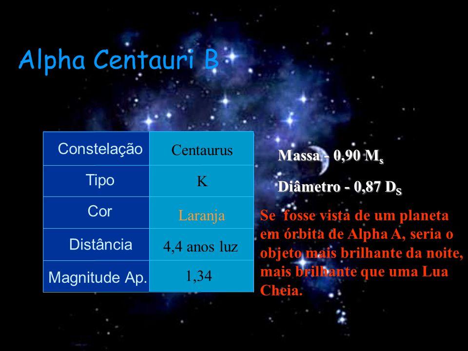 Alpha Centauri B Massa - 0,90 Ms Constelação Centaurus