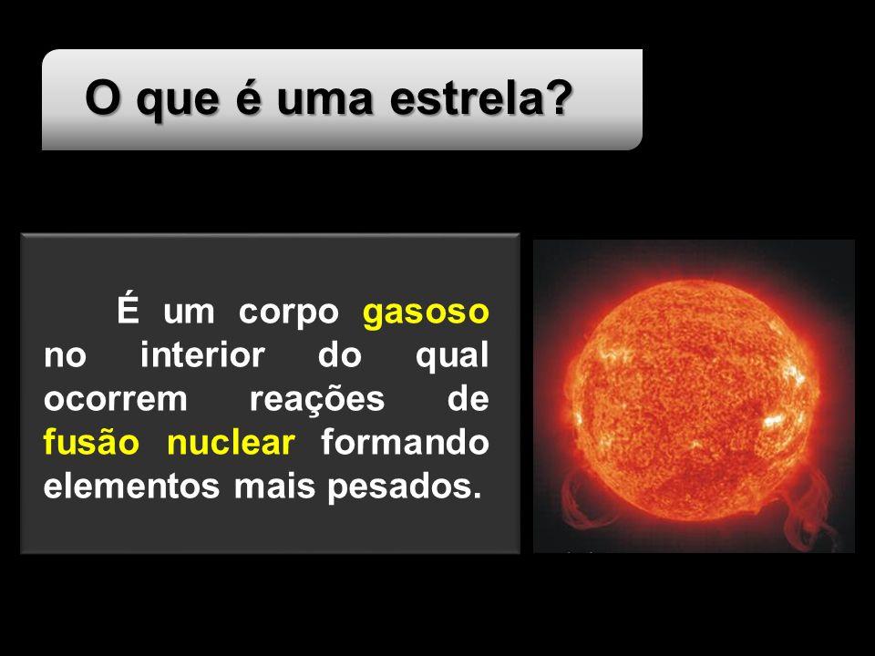 O que é uma estrela É um corpo gasoso no interior do qual ocorrem reações de fusão nuclear formando elementos mais pesados.