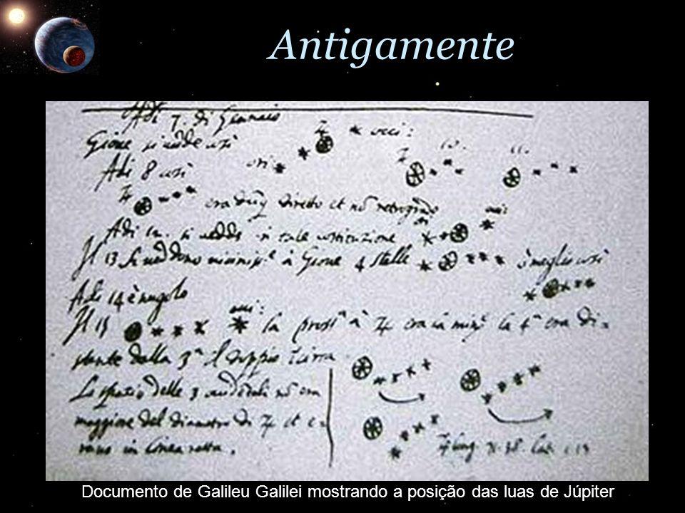 Documento de Galileu Galilei mostrando a posição das luas de Júpiter