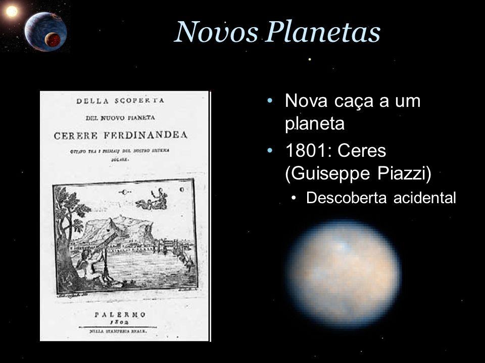 Novos Planetas Nova caça a um planeta 1801: Ceres (Guiseppe Piazzi)