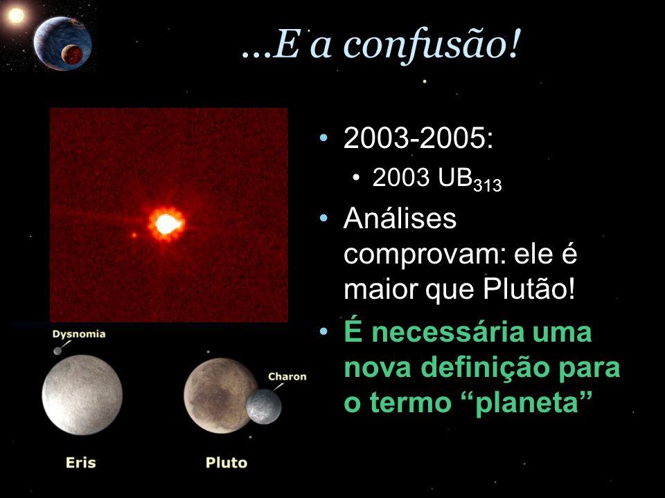 ...E a confusão!2003-2005: 2003 UB313. Análises comprovam: ele é maior que Plutão! É necessária uma nova definição para o termo planeta