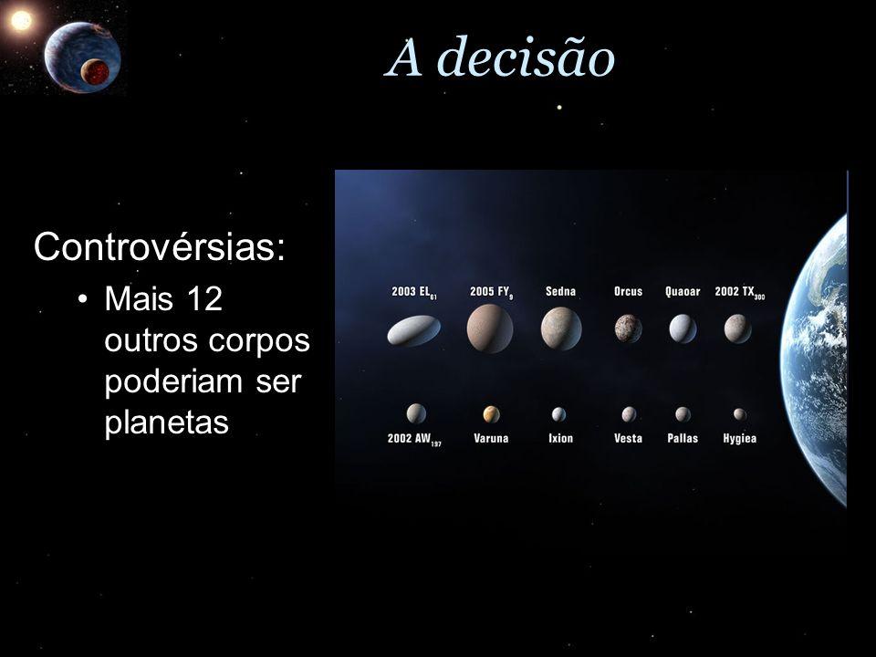 A decisão Controvérsias: Mais 12 outros corpos poderiam ser planetas