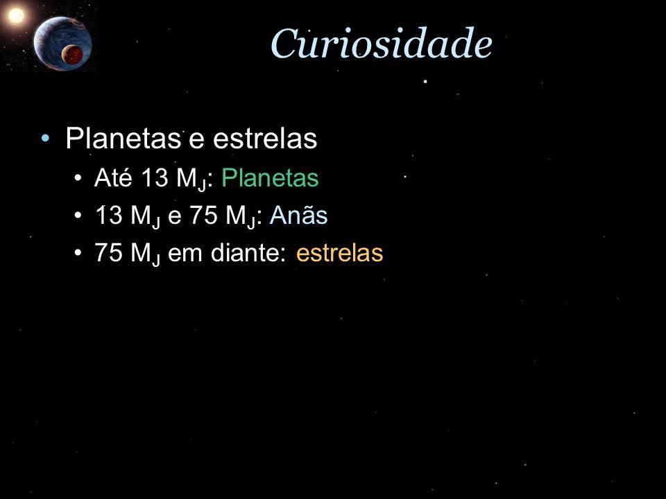 Curiosidade Planetas e estrelas Até 13 MJ: Planetas