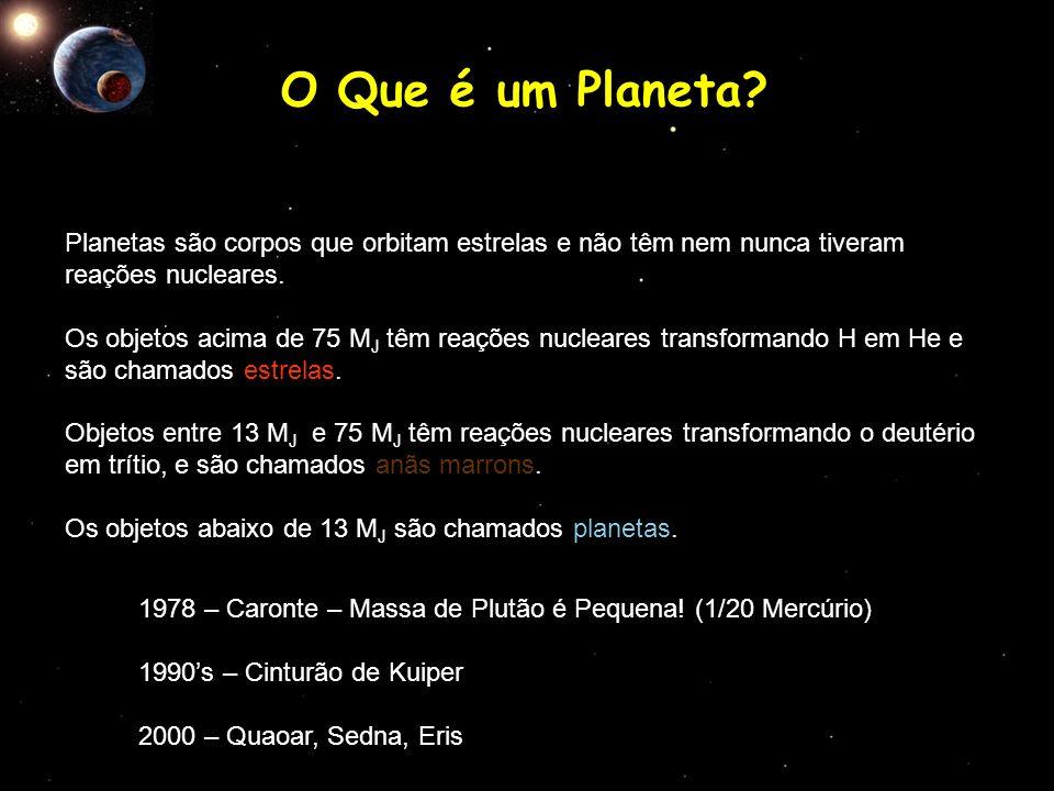 O Que é um Planeta Planetas são corpos que orbitam estrelas e não têm nem nunca tiveram reações nucleares.