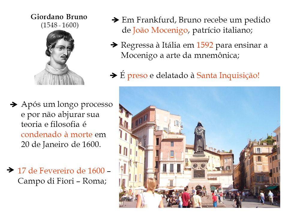 Regressa à Itália em 1592 para ensinar a Mocenigo a arte da mnemônica;