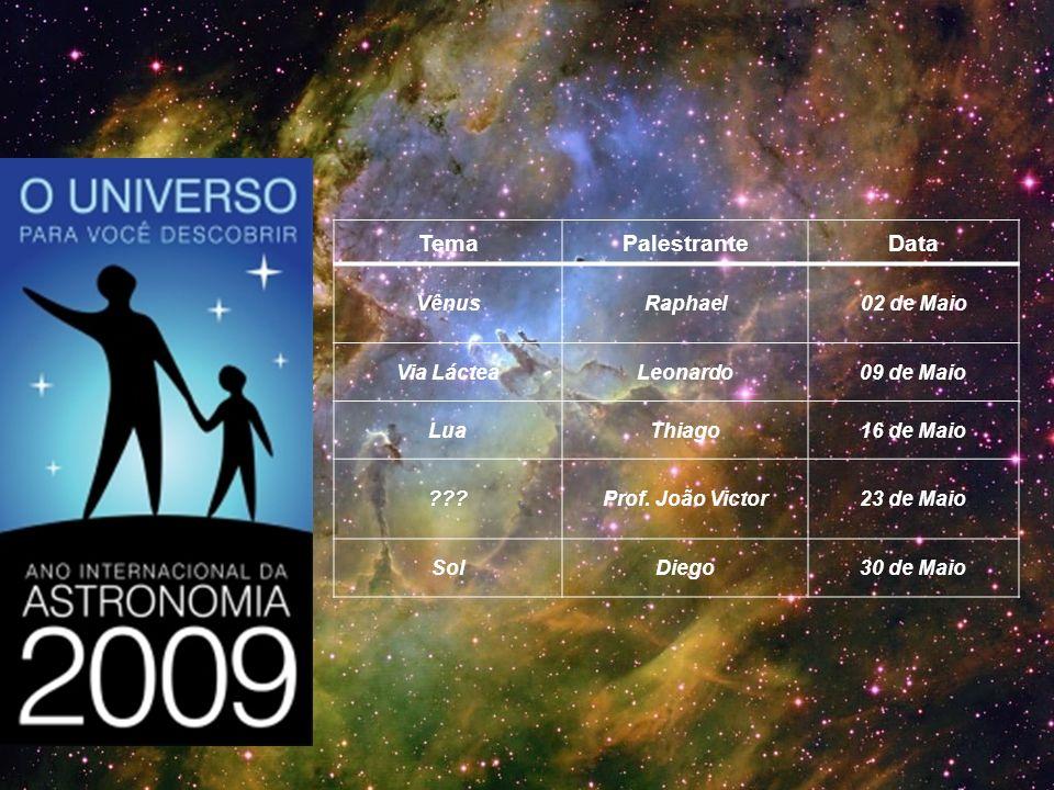 Tema Palestrante Data Vênus Raphael 02 de Maio Via Láctea Leonardo