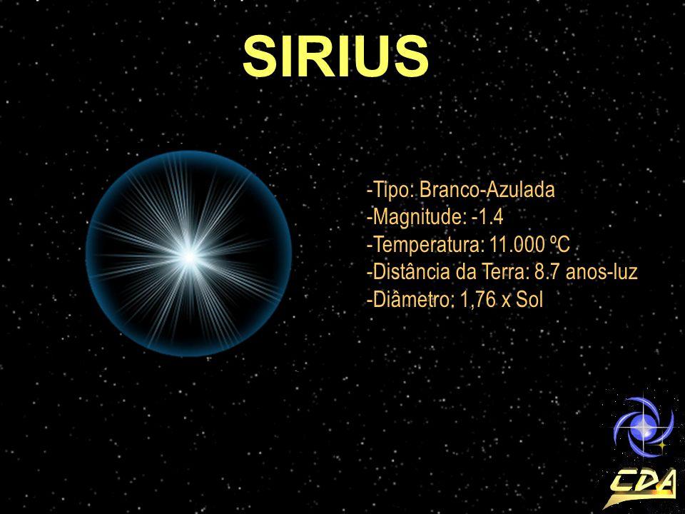 SIRIUS Tipo: Branco-Azulada Magnitude: -1.4 Temperatura: 11.000 ºC