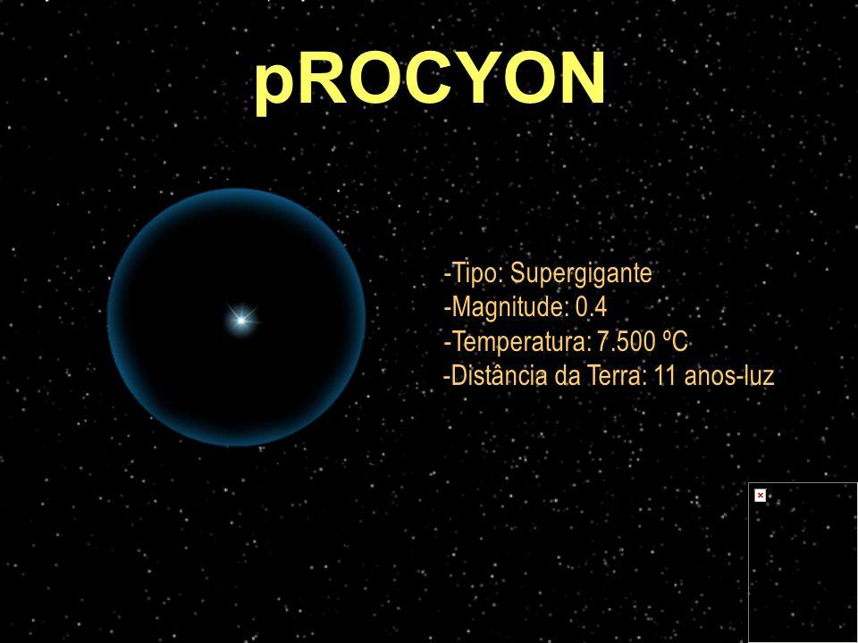 pROCYON Tipo: Supergigante Magnitude: 0.4 Temperatura: 7.500 ºC