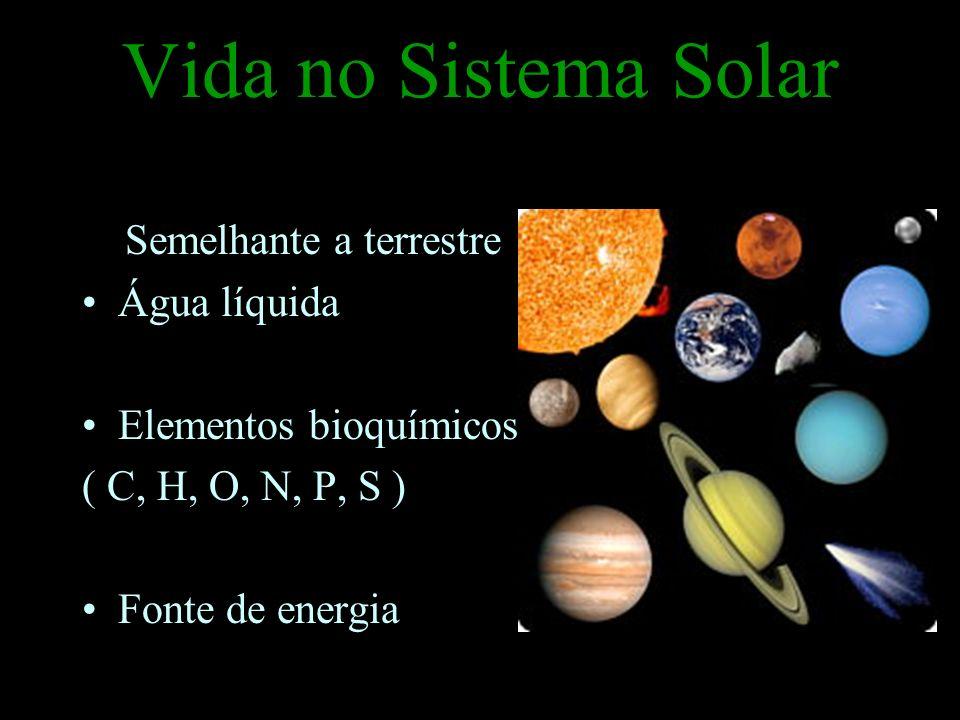 Vida no Sistema Solar Semelhante a terrestre Água líquida