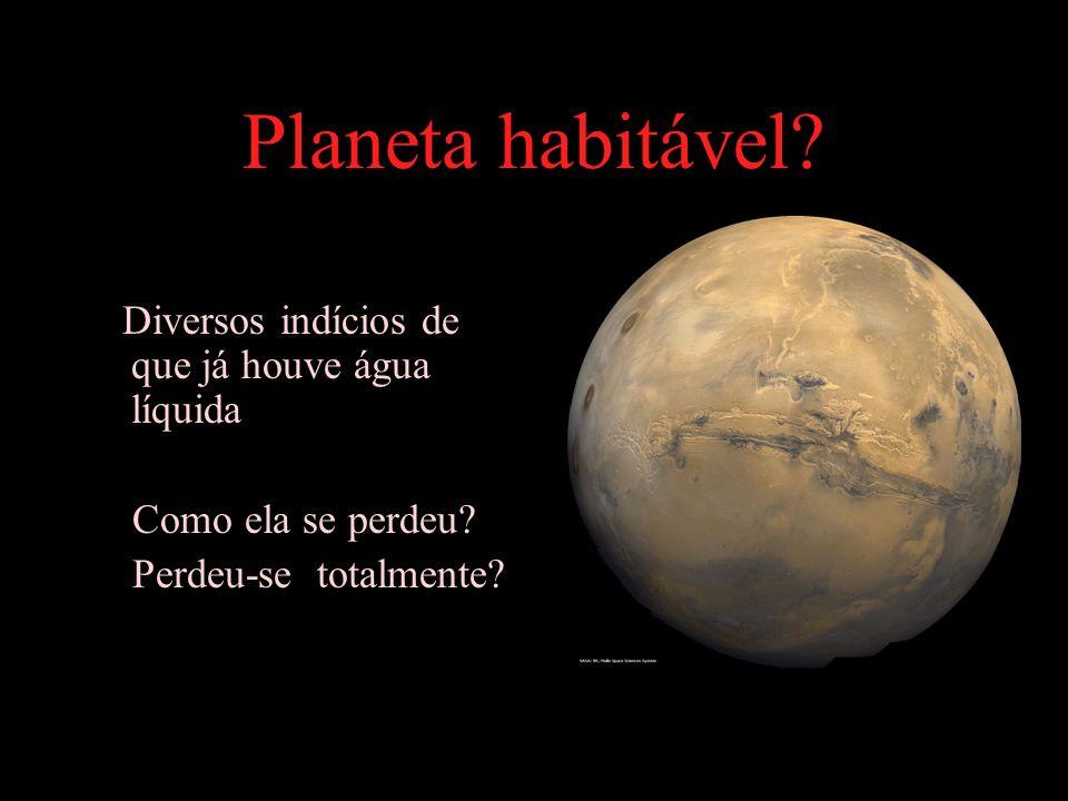 Planeta habitável Diversos indícios de que já houve água líquida