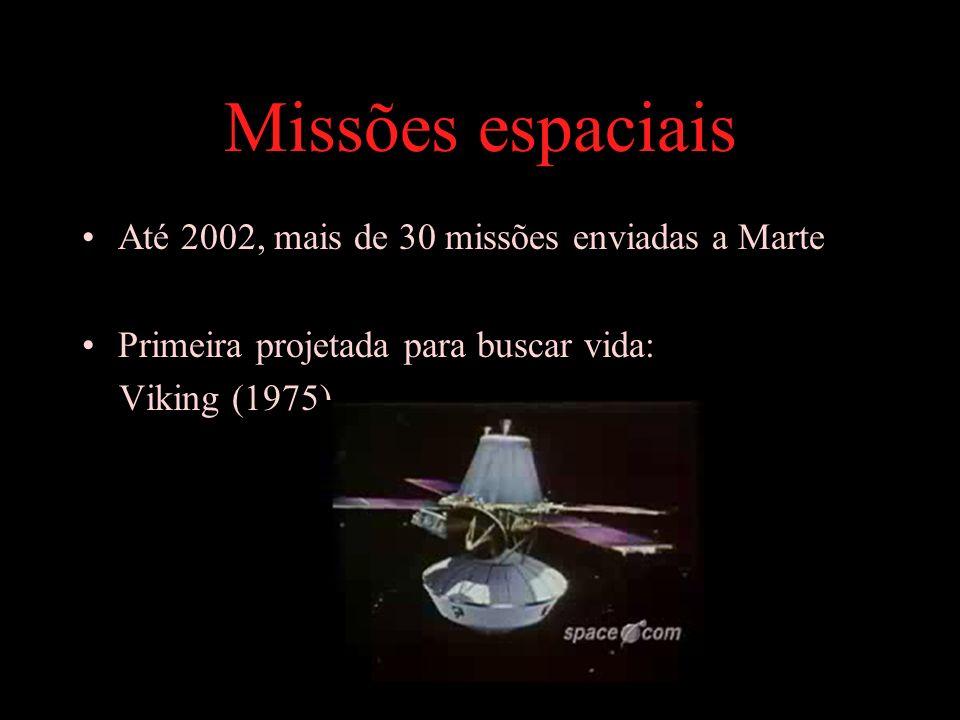 Missões espaciais Até 2002, mais de 30 missões enviadas a Marte