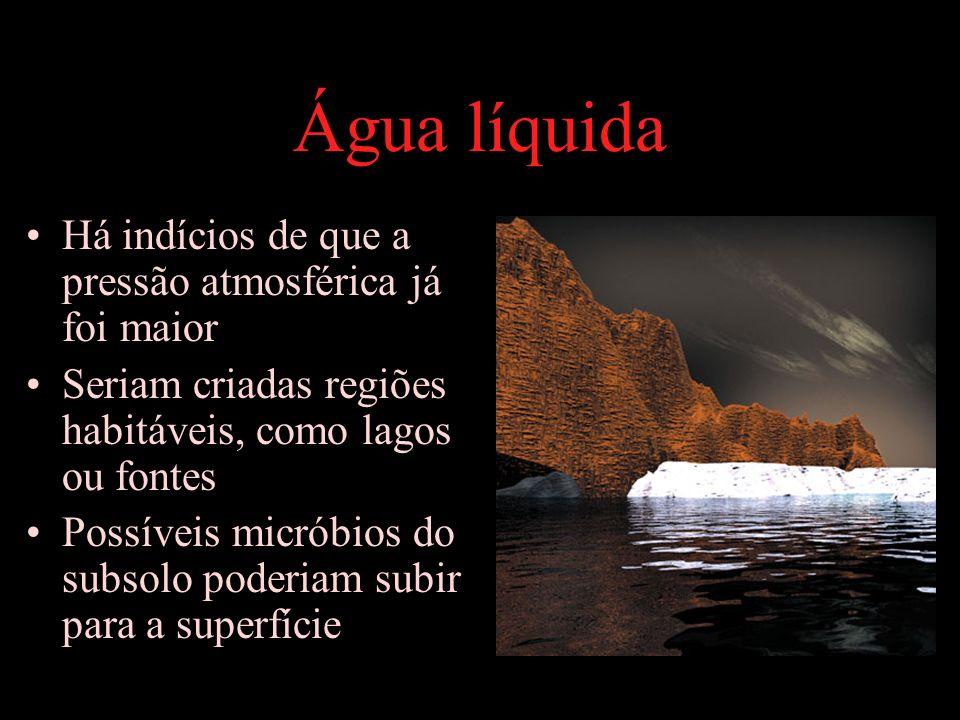 Água líquida Há indícios de que a pressão atmosférica já foi maior