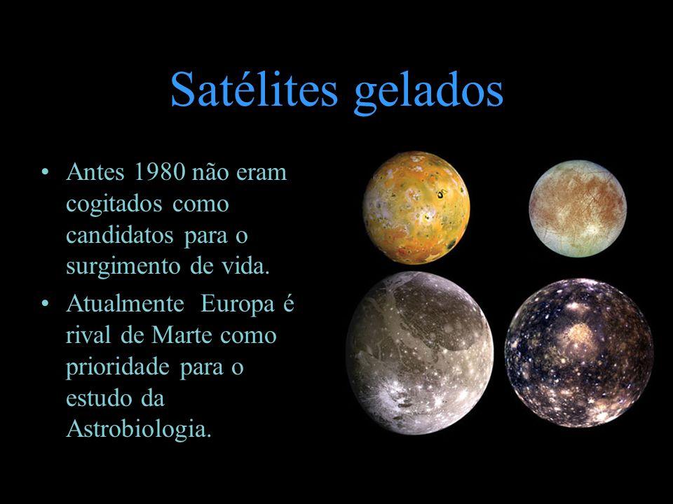 Satélites gelados Antes 1980 não eram cogitados como candidatos para o surgimento de vida.