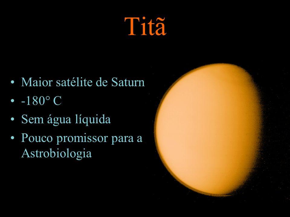 Titã Maior satélite de Saturno -180° C Sem água líquida