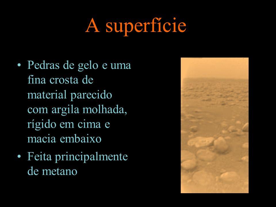 A superfície Pedras de gelo e uma fina crosta de material parecido com argila molhada, rígido em cima e macia embaixo.