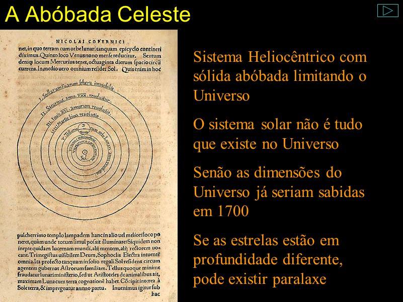 A Abóbada Celeste Sistema Heliocêntrico com sólida abóbada limitando o Universo. O sistema solar não é tudo que existe no Universo.