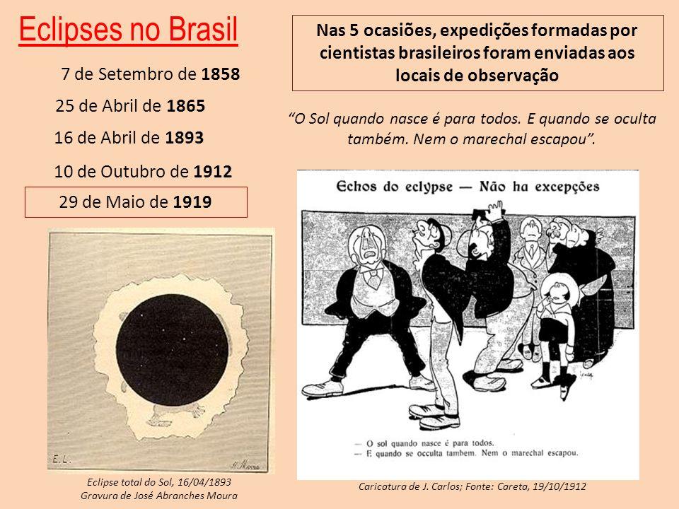 Eclipses no Brasil Nas 5 ocasiões, expedições formadas por cientistas brasileiros foram enviadas aos locais de observação.
