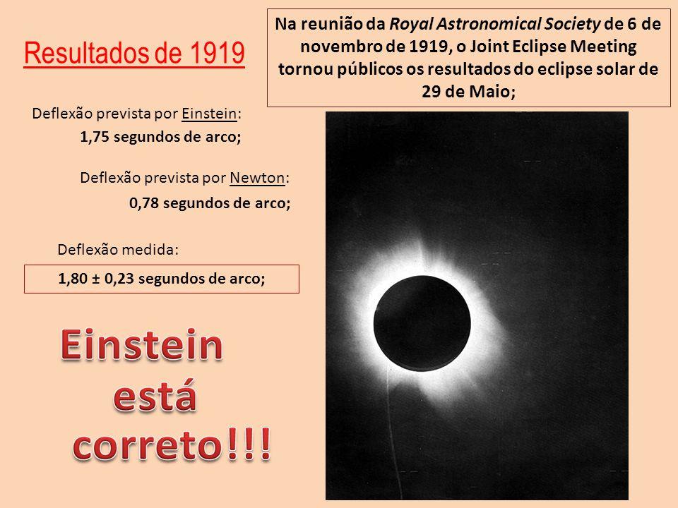 Na reunião da Royal Astronomical Society de 6 de novembro de 1919, o Joint Eclipse Meeting tornou públicos os resultados do eclipse solar de 29 de Maio;