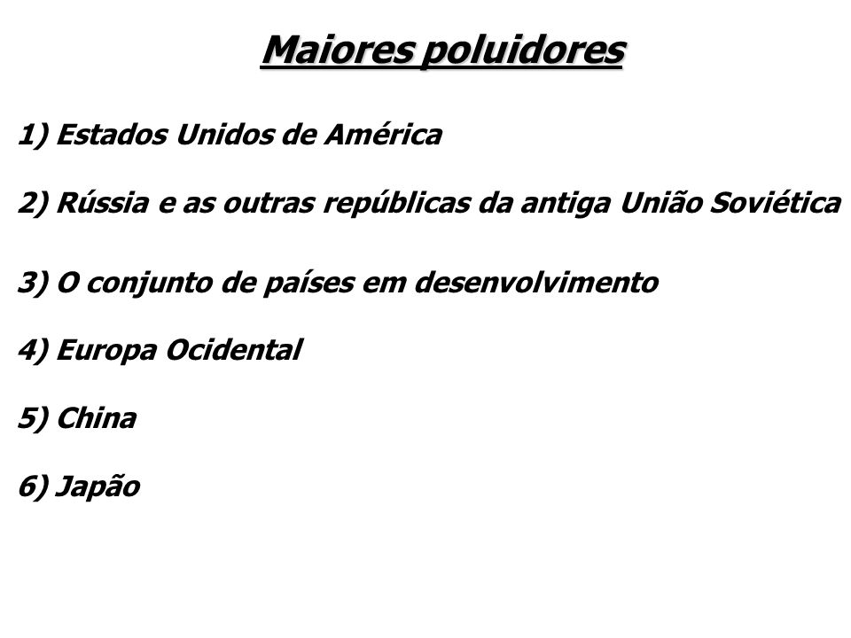 Maiores poluidores 1) Estados Unidos de América
